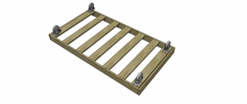 basic bed frame with slats and casters