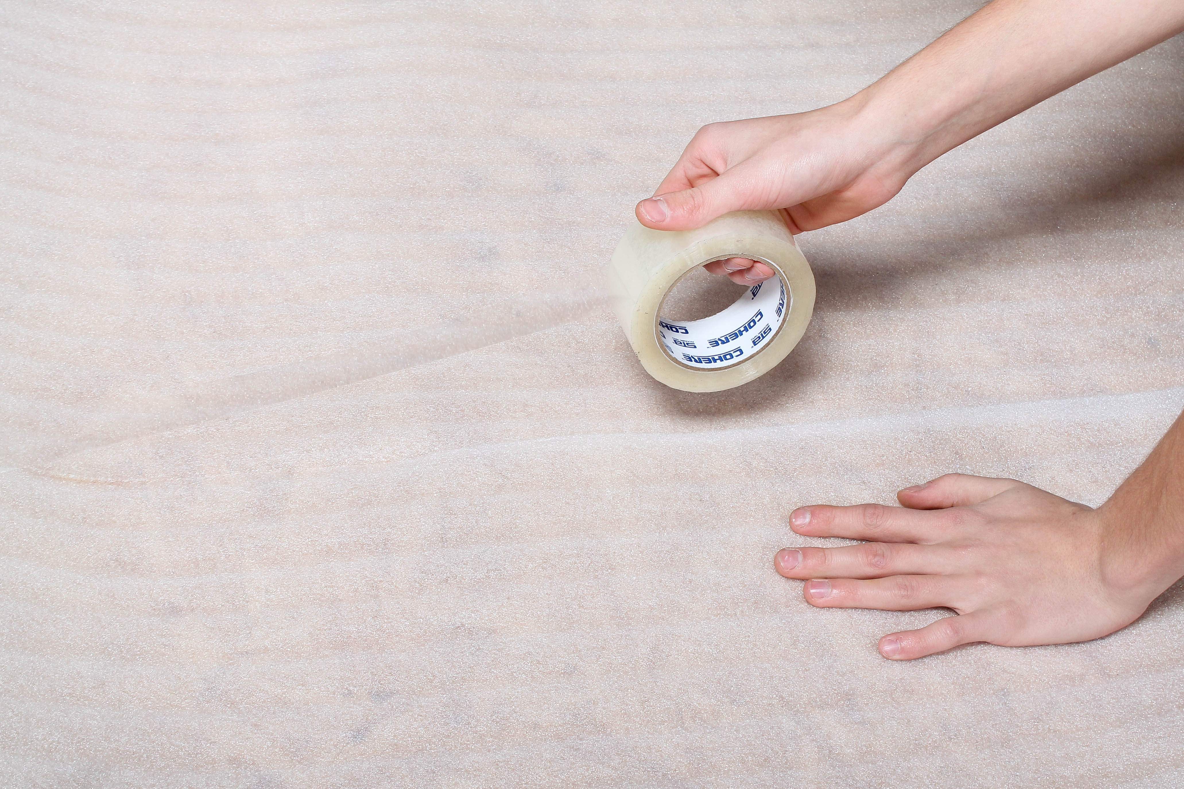 Tape the rows of the underlayment
