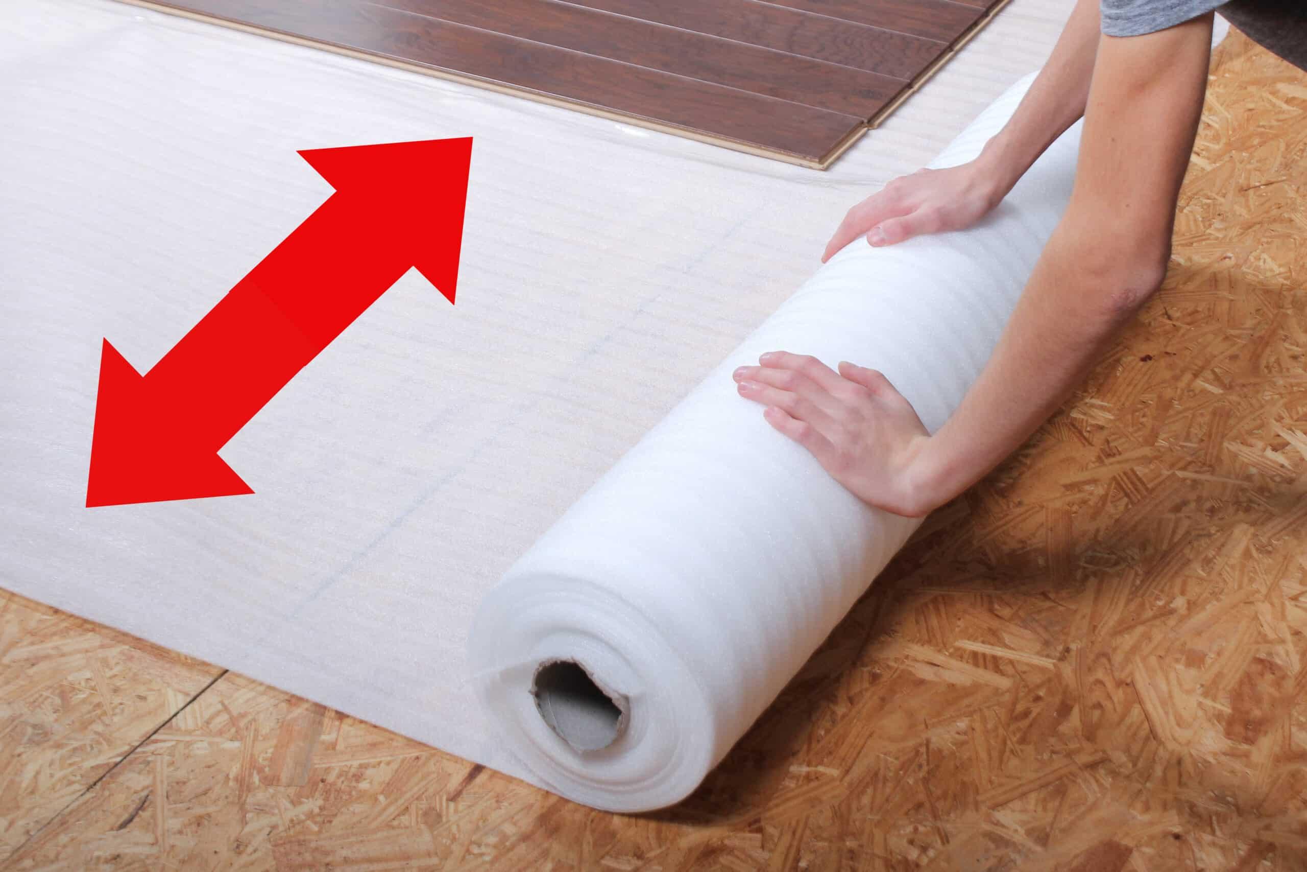 Work left to right when installing standard flooring underlayment
