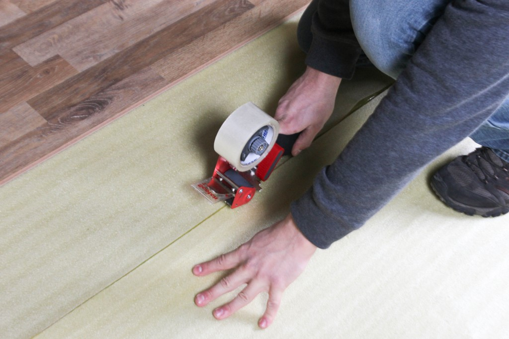 How To Install 2in1 Vapor Barrier Underlayment: Tape the rows together