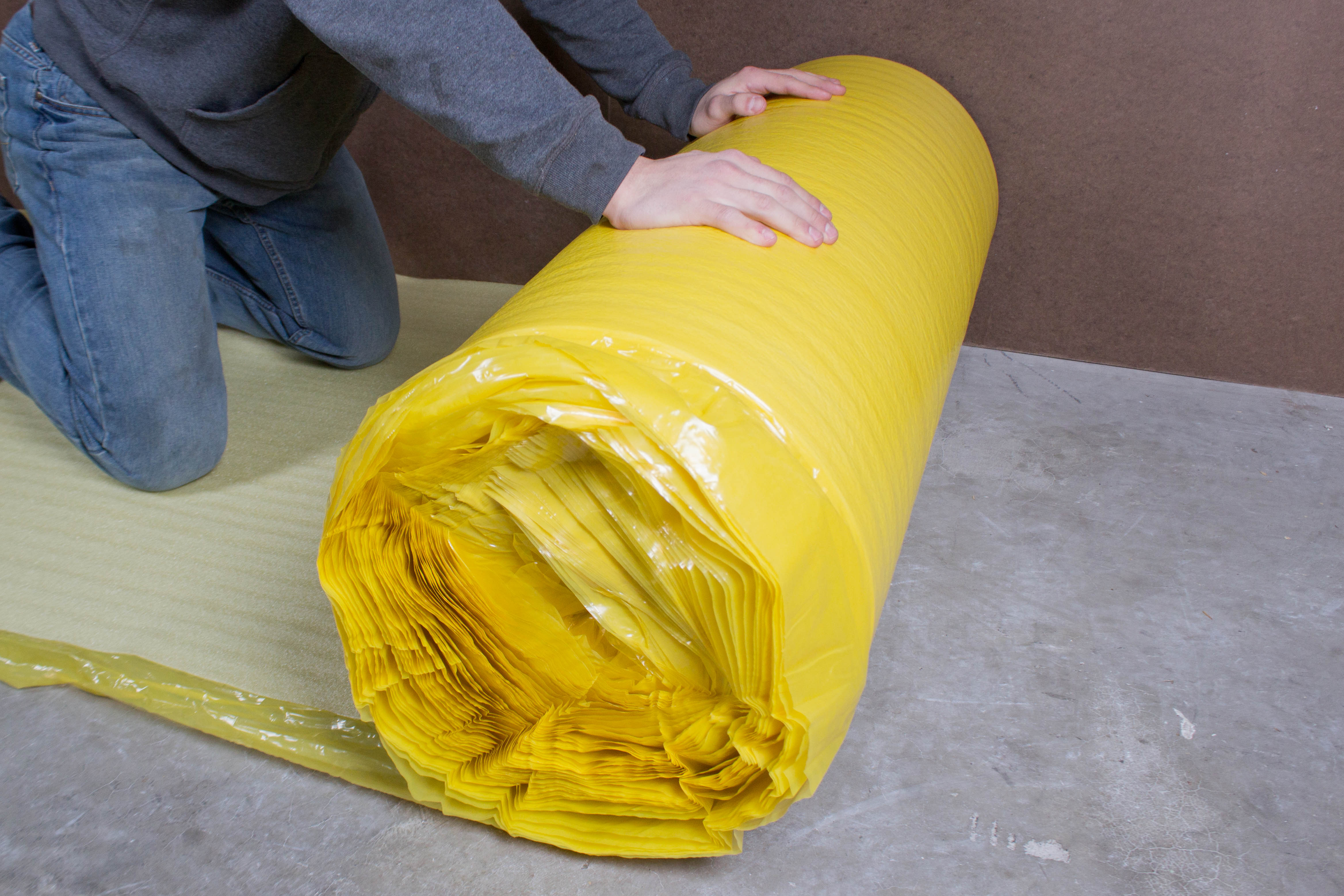 How To Install 2in1 Vapor Barrier Underlayment: Unroll the first row