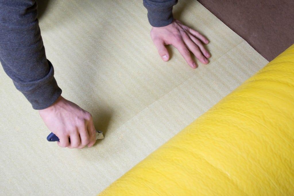 How To Install 2in1 Vapor Barrier Underlayment: Merasure and cut your underlaymet