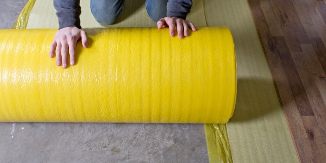 How To Install 2in1 Vapor Barrier Underlayment: Unroll your second row