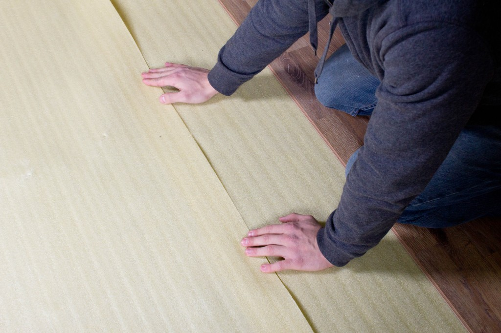 How To Install 2in1 Vapor Barrier Underlayment: Butt the rows together