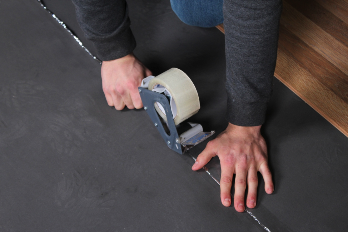 How to Install Vapor 3-in-1 Silver Underlayment - Tape each piece of underlayment together