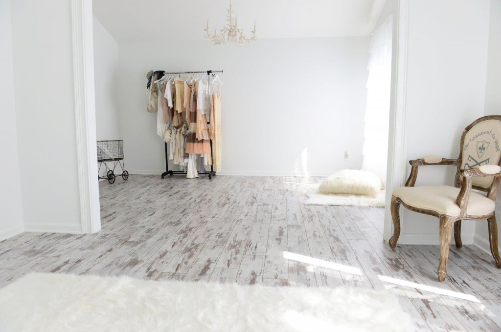Classen Premium Fresco white washed laminate flooring in Karen Robert's photo studio.