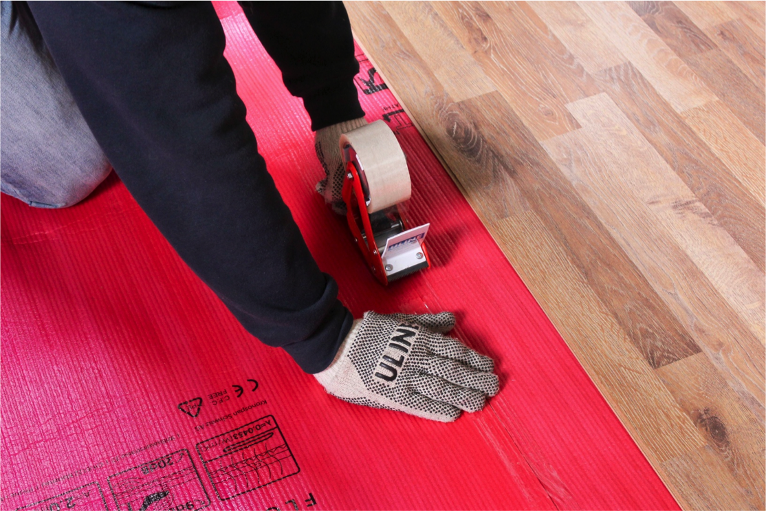 Tape the two pieces of underlayment together