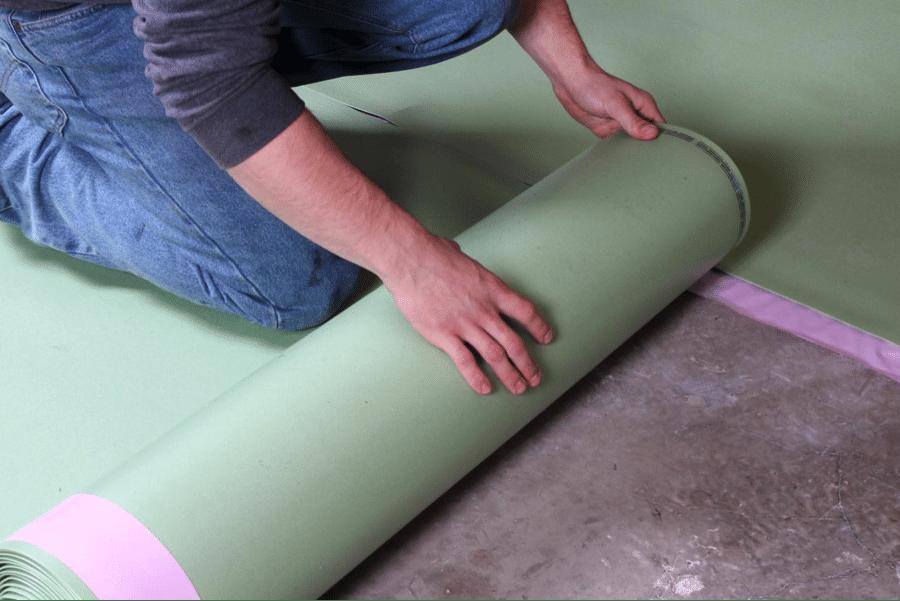 Unrolling the Floor Muffler underlayment