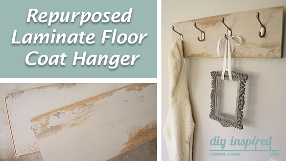 Re-purposed Laminate Flooring Coat Hanger by DIY Inspired