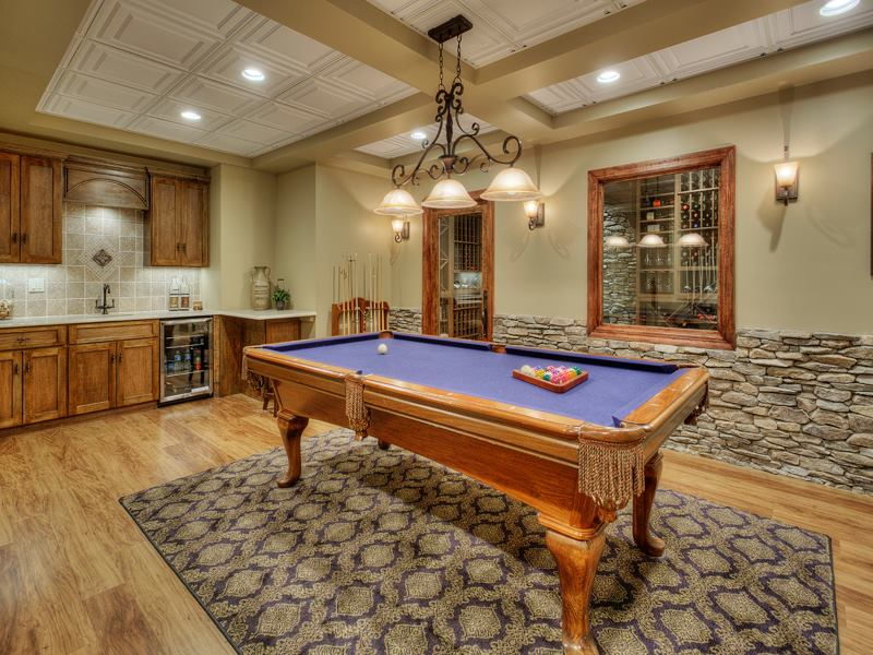 Basement Remodeling pool table view.
