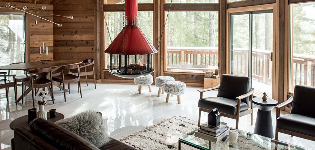 white high gloss laminate flooring in mountain cabin
