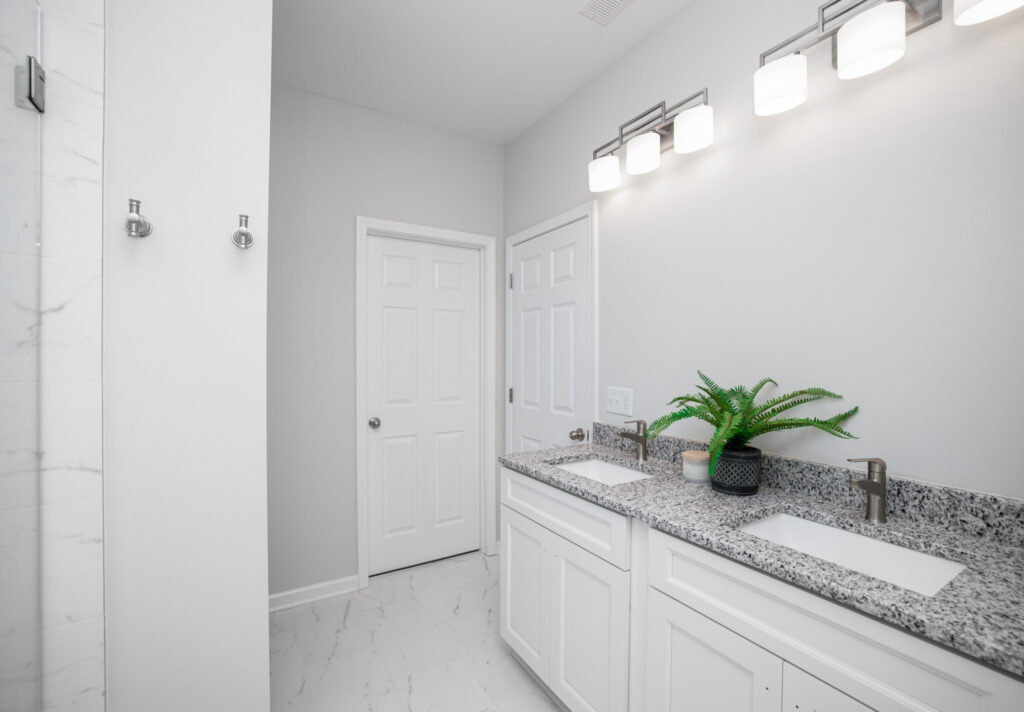 marble tile with granite counter bathroom