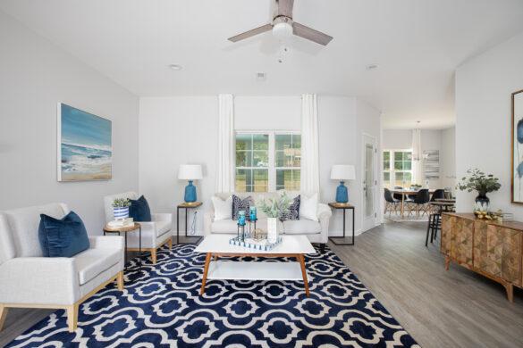 virtual home tour blue living room design