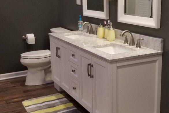 gray and yellow bathroom
