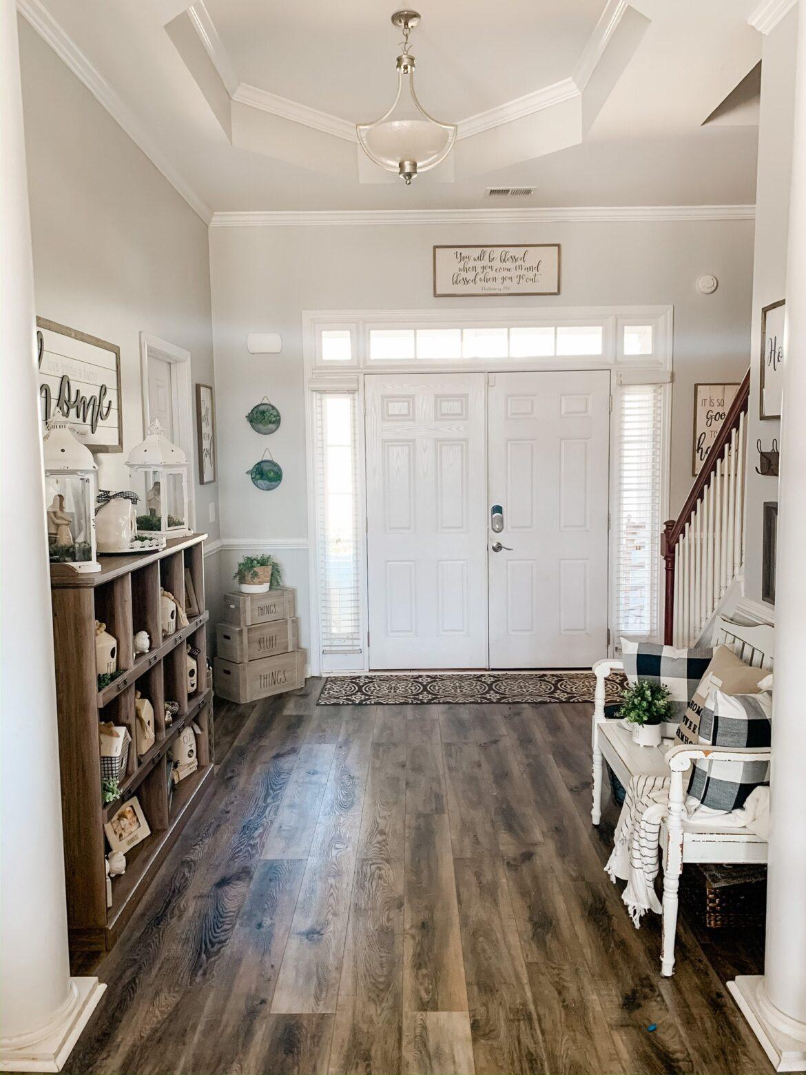 entrway storage ideas with vinyl flooring