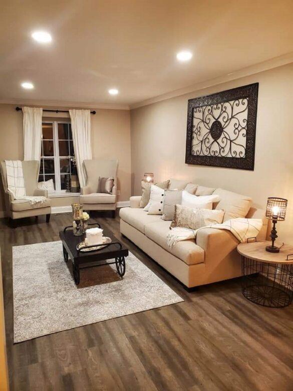 Beige Living Room with Bestlaminate Vinyl Plank Flooring