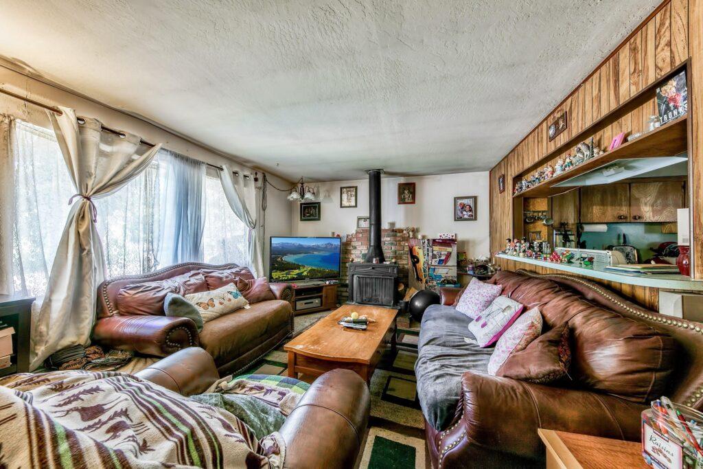 ski lodge transformation before living room