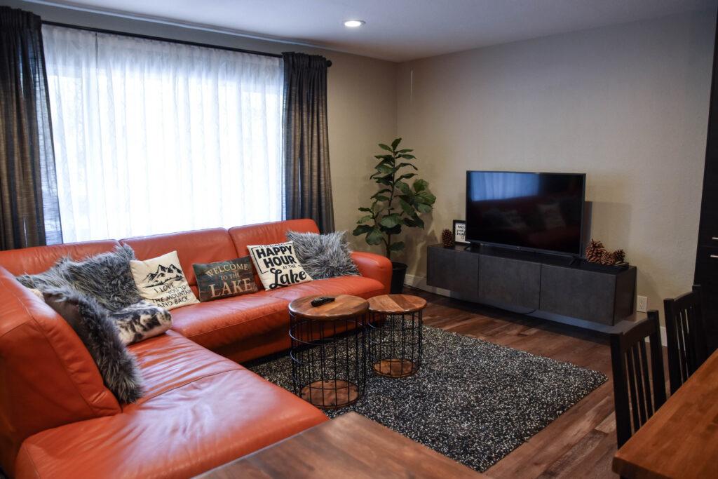ski lodge transformation after living room