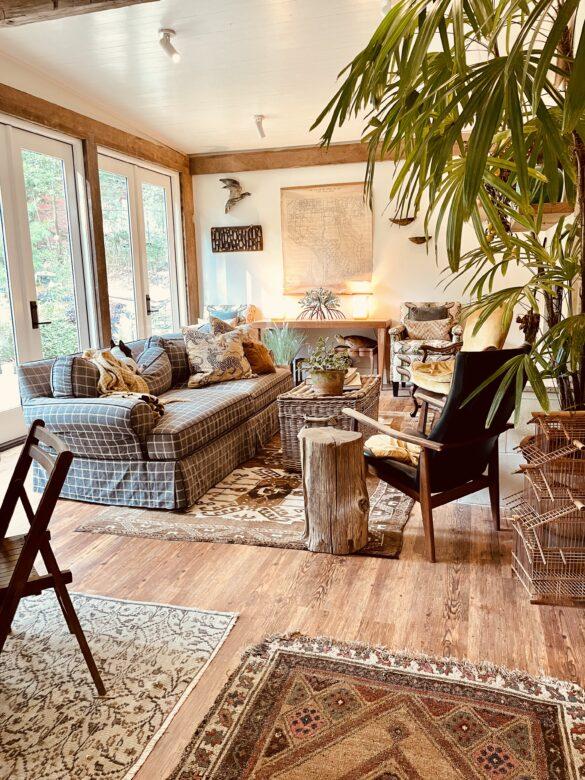 Rustic Sunroom with Carolina Pine Vinyl Flooring
