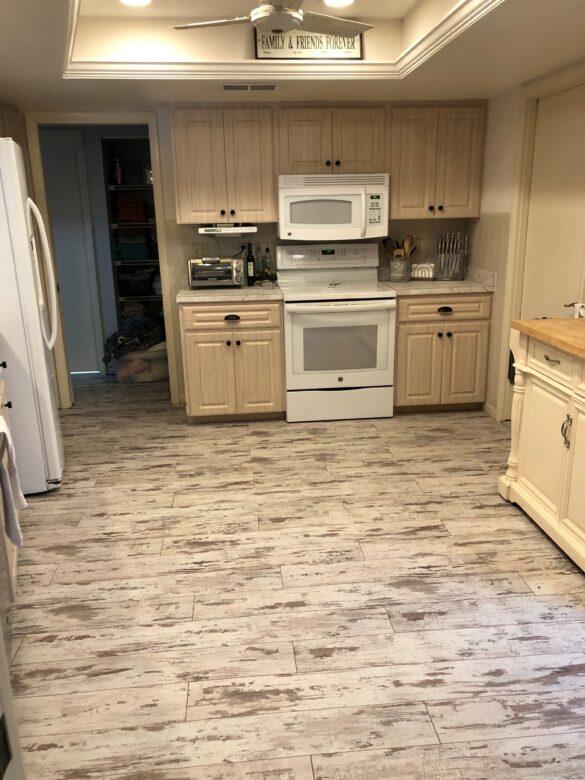 whitewashed kitchen flooring