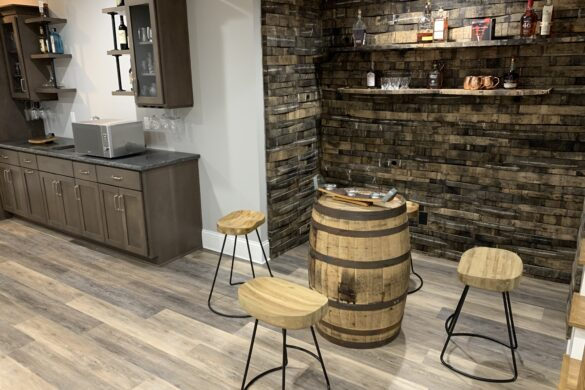 rustic home bar with coretec vinyl plank flooring