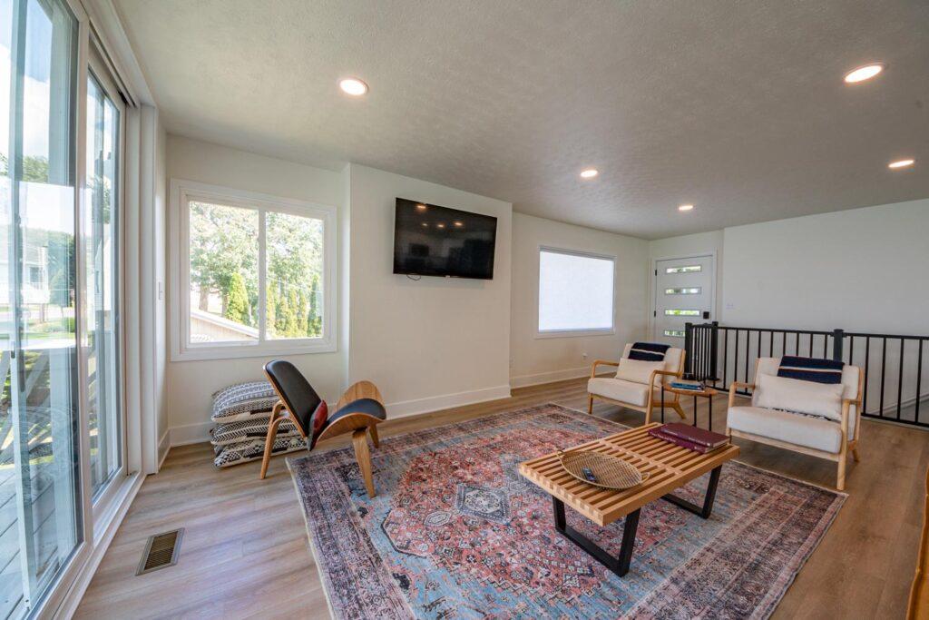 lake house flooring living room