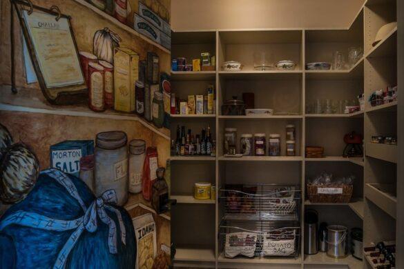 organized pantry with vinyl plank flooring