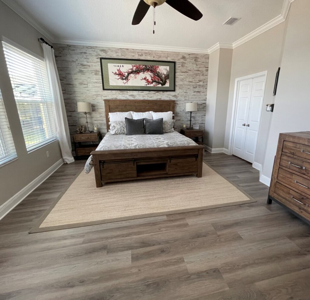 gorgeous home bedroom with accent wall
