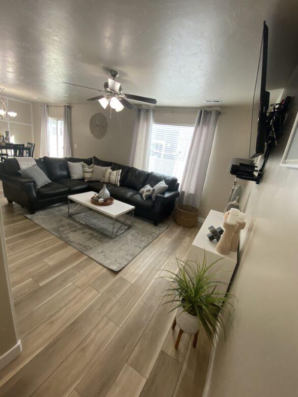 modern family room bohemian style house