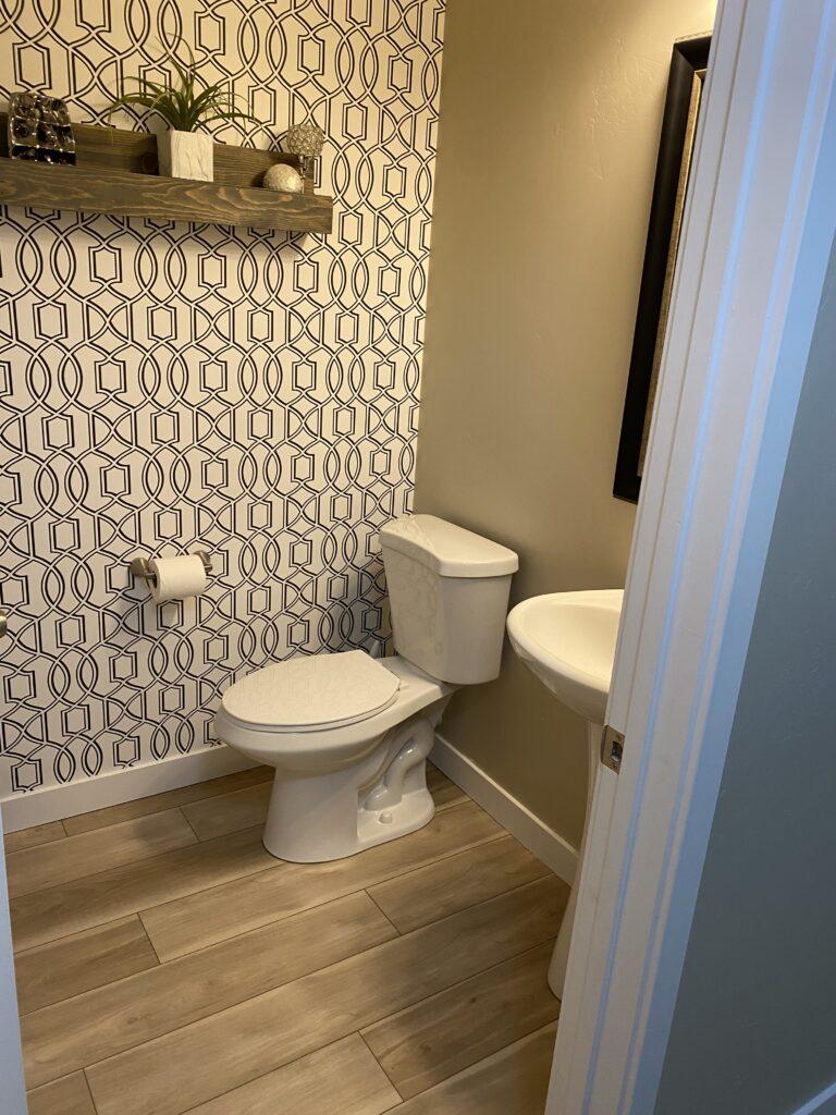 bohemian style house first floor half bathroom