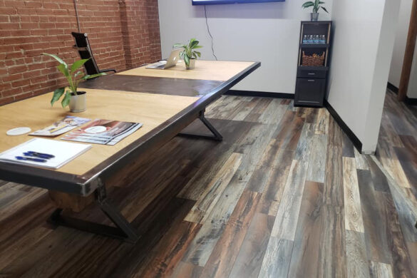 farmhouse home office with armstrong pryzm elements heritage vintage hybrid flooring