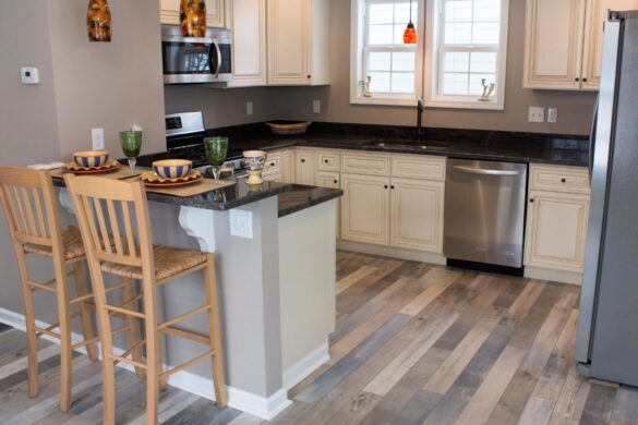 Traditional Kitchen With Black Countertops