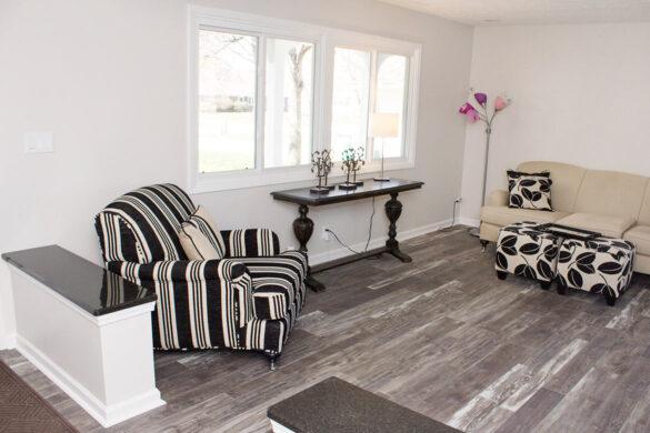 gray flooring in living room