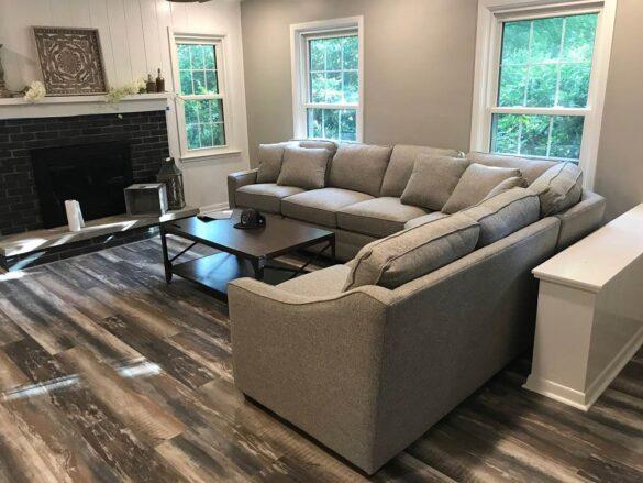 Rustic flooring in Living Room with Bestlaminate Pro-Line Kon-Tiki Tropic SPC Vinyl Flooring