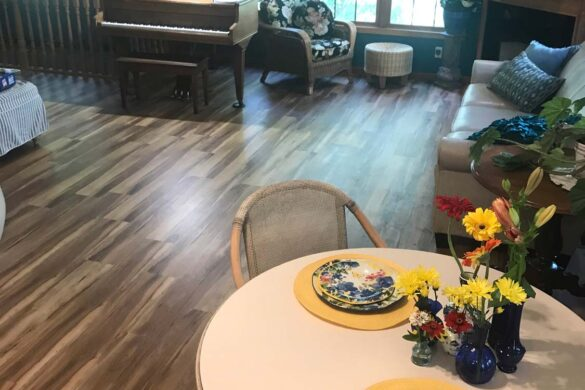 timeless living space with bestlaminate sound and heavy red spalted hickory laminate flooring