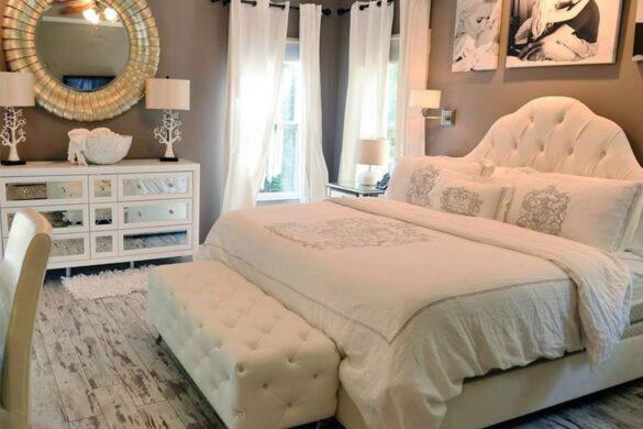 Elegant White Bedroom With Classen Fresco Adventure Line Laminate Flooring bl-000367