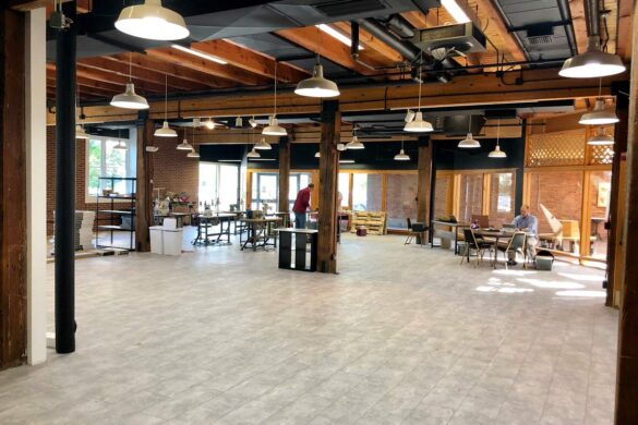 industrial modern office with classen visiogrande screed light laminate flooring