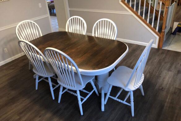 Traditional Dining Room With Coretec WPC Vinyl Flooring