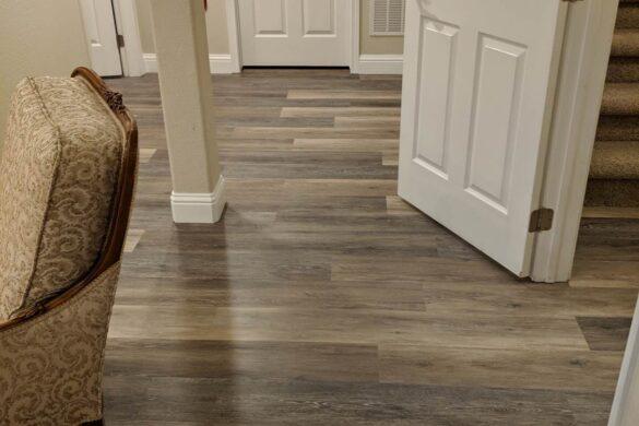 rustic basement with coretec plus blackstone oak vinyl flooring
