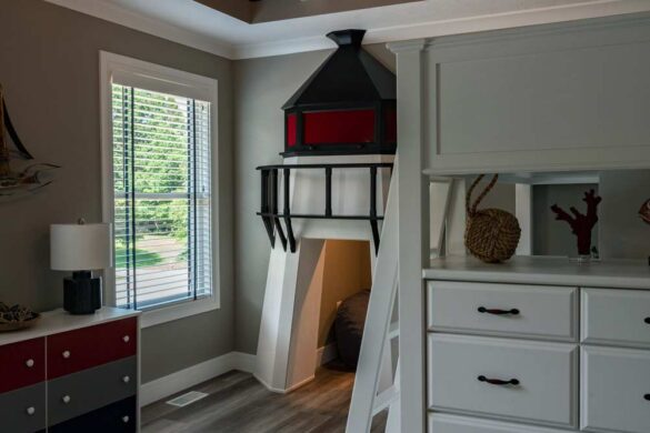 nautical kids bedroom with coretec plus xl james river oak vinyl flooring