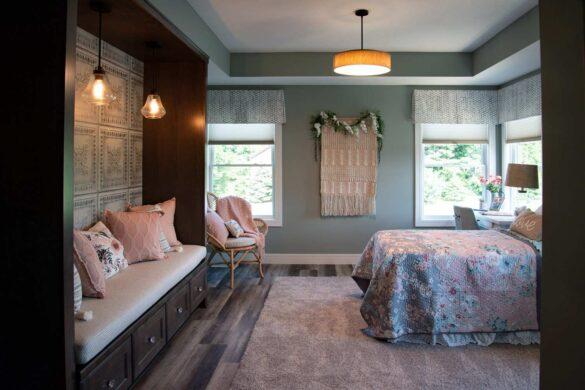 girls bedroom with coretec plus xl james river oak vinyl flooring