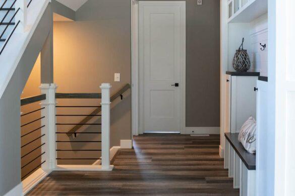 rustic hallway with coretec plus xl james river oak vinyl flooring