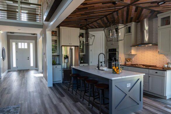 rustic farmhouse kitchen with coretec plux xl james river oak vinyl flooring