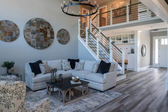farmhouse living room with coretec plus xl james river oak vinyl flooring