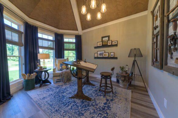 american farmhouse office with coretec plus xl james river oak vinyl flooring