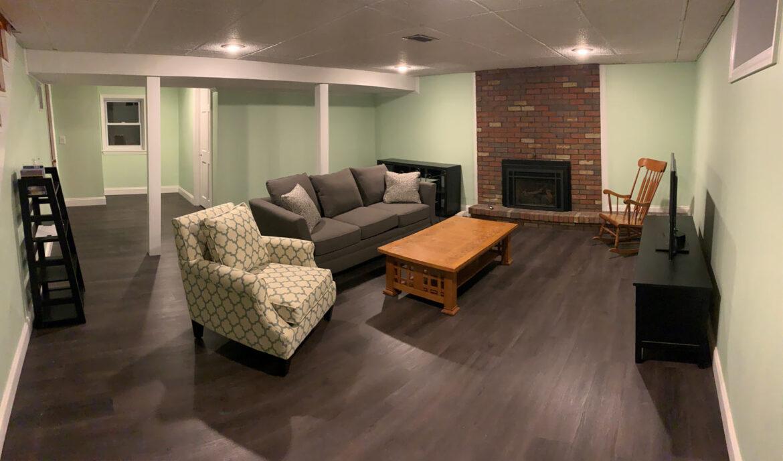 modern basement design with coretes pro bristol oak vinyl flooring