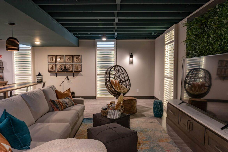 basement theater room with coretec pro plus enhanced wexford vinyl plank flooring