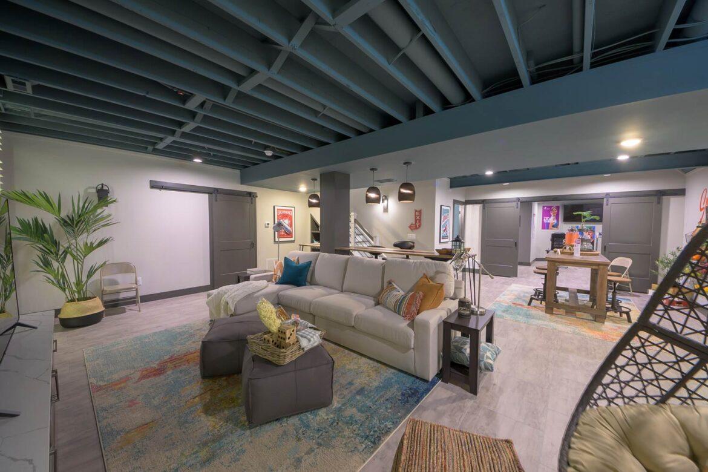 finished basement with coretec enhanced wexford vinyl flooring