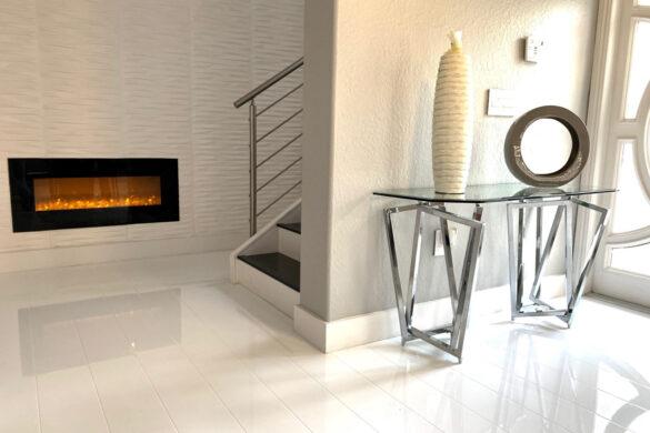 White Living Room with Elesgo Glamour Life Arktis White Laminate Flooring