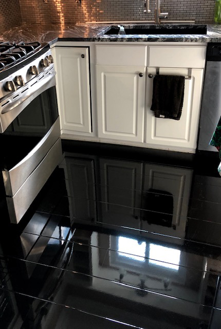 Black Kitchen Modern Space With High Gloss Flooring